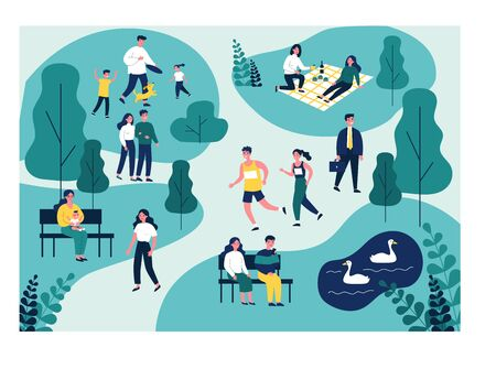 People walking in park, jogging and eating at picnic Stock Illustratie