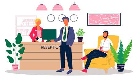 Office reception vector illustration