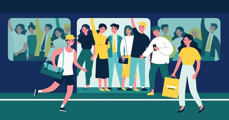 People hurrying into overcrowded train flat vector illustration Illustration
