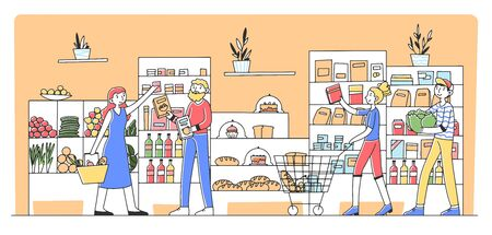 Cartoon people buying products at grocery store Vecteurs