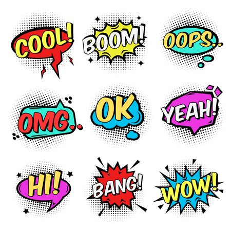 Comic text speech bubbles and bursts set Ilustração