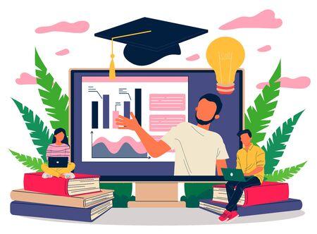 Online teacher explaining graphs on monitor Illustration