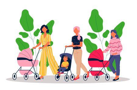 New moms walking with children Vettoriali