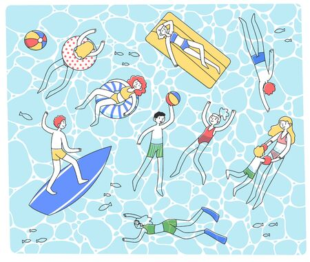 People swimming in clear sea flat vector illustration Illustration