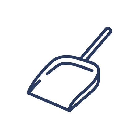 Dustpan thin line icon. Tool, dust pan, garbage scoop isolated outline sign. Household, cleaning service, domestic work concept. Vector illustration symbol element for web design and apps Illustration