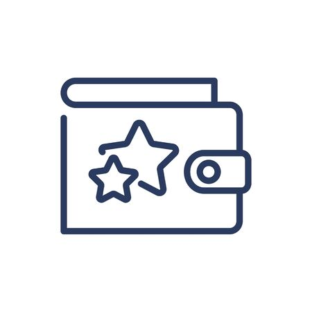 Wallet with stars thin line icon. Customer spending, saving, bonus points isolated outline sign. Loyalty program, discount concept. Vector illustration symbol element for web design and apps Vetores