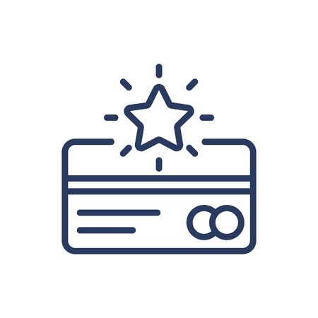 Credit card with bonus points thin line icon Vetores