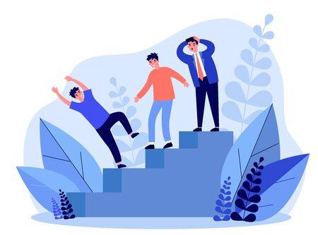 Businessmen watching colleague falling from stair Vecteurs
