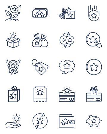 Loyalty program thin line icons set Vector Illustration