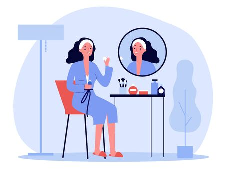 Cartoon lady in front of mirror washing face skin