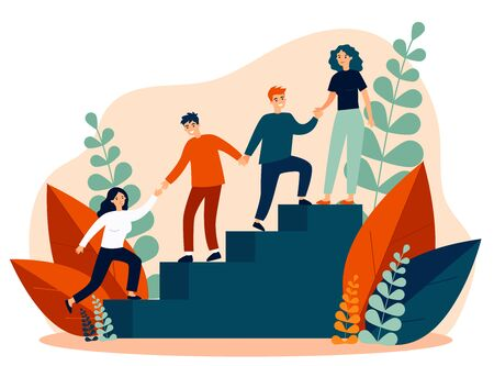 Happy young employees giving support and help each other flat vector illustration. Business team working together for success and growing. Corporate relations and cooperation concept. Vektoros illusztráció
