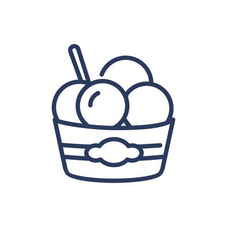 Ice cream scoops thin line icon