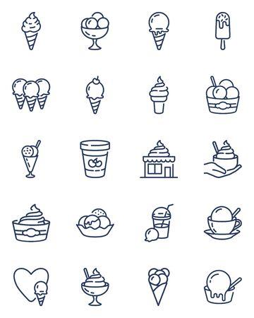 Ice cream line icons set Ilustração