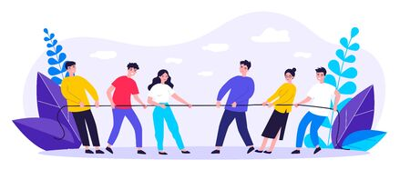 People playing game and pulling rope flat vector illustration