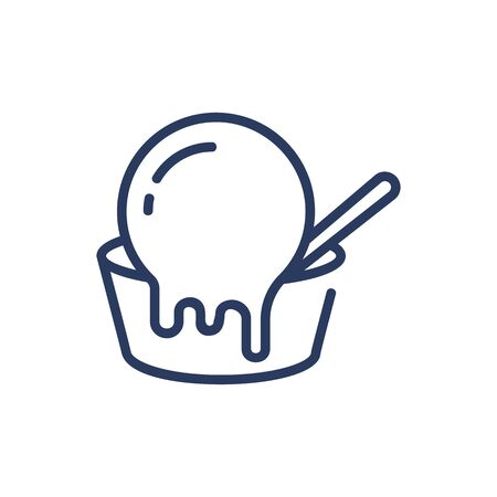 Melting ice cream scoop thin line icon. Bowl, spoon, summer menu, refreshment isolated outline sign. Food and dessert concept. Vector illustration symbol element for web design and apps Ilustração