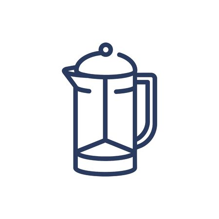 French press thin line icon. Coffee pot, morning, caffeine isolated outline sign. Breakfast drink or cafe concept. Vector illustration symbol element for web design and apps