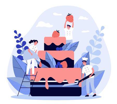 Pastry chefs cooking big birthday cake Ilustração