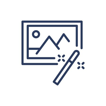 Magic wand for image thin line icon. Improvement, creation, nature isolated outline sign. Image editing and photo correction concept. Vector illustration symbol element for web design and apps