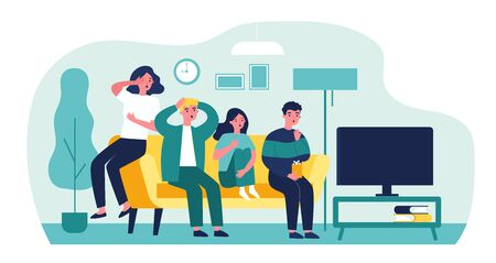 Group of friends watching scary movie flat vector illustration