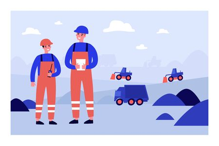 Coal mine engineers wearing protective uniforms, standing on construction site with heavy machines on background. Vector illustration for factory, industry, labor, blue collar concept