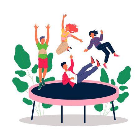 Happy teenage friends jumping on trampoline