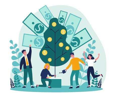 Cheerful people investing finance flat vector illustration