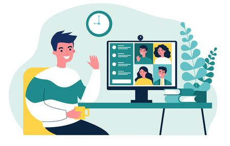 Worker using computer for collective virtual meeting and group video conference. Man at desktop chatting with friends online. Vector illustration for videoconference, remote work, technology concept Ilustracja