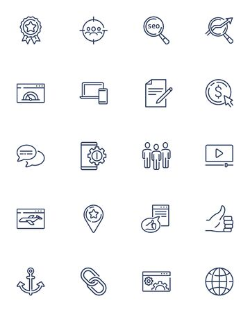 Outline vector icons set for web, website and mobile