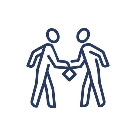 Partners exchanging resources thin line icon. Cooperation, help, deal isolated outline sign. Teamwork and business concept. Vector illustration symbol element for web design and apps Vector Illustration