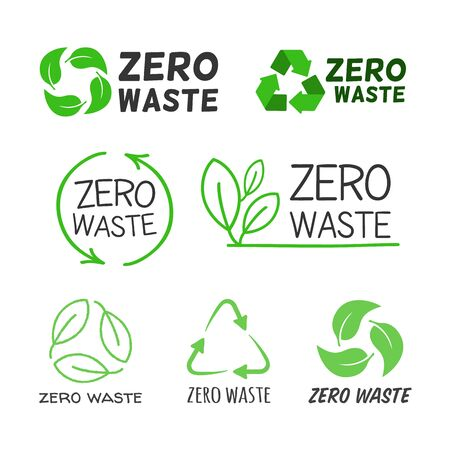 Zero waste labels flat icon collection. Cartoon logo for eco activism vector illustration set. Green recycling arrows and leaves. Planet and ecological protection concept