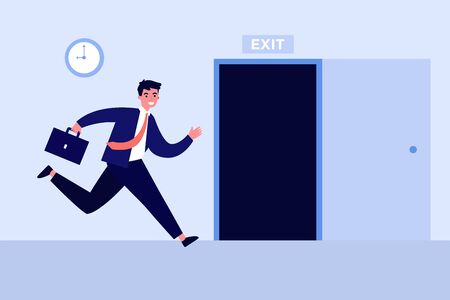 Businessman running to open exit door flat vector illustration. Cartoon office worker using safety way from job during fire or earthquake. Emergency escape and evacuation concept Stock Illustratie