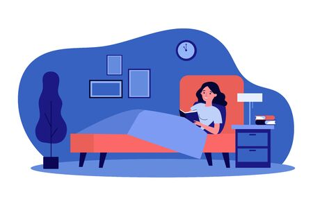 Happy woman reading book in bed. Female student studying library textbook before going to sleep. Vector illustration for healthy habit, leisure, literature concept