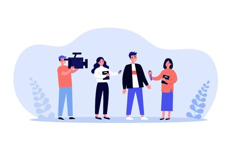 Female journalists with microphones interviewing man. Operator shooting reporters conversation with male character. Vector illustration for news, reportage, mass media concept