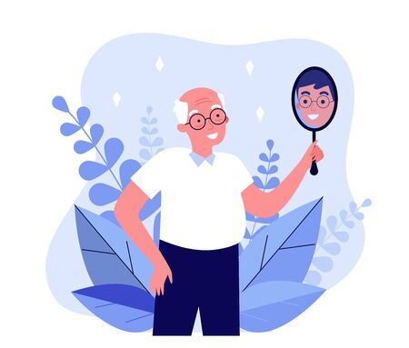 Smiling man looking at himself in mirror. Granddad imagining himself as young guy flat vector illustration. Narcissism and reflection concept for banner, website design or landing web page