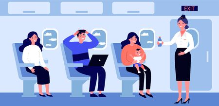 Woman with screaming baby travelling by plane. Stressed passengers, stewardess with water flat vector illustration. Transportation, tourism concept for banner, website design or landing web page  イラスト・ベクター素材