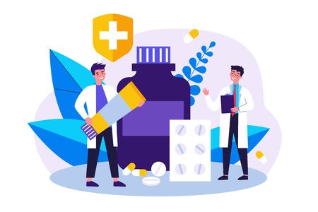 Doctor with prescription and pharmacist with ointment tube discussing treatment, pills and drug in drugstore. Vector illustration for pharmacy, medicine, medical checkout concept Vettoriali