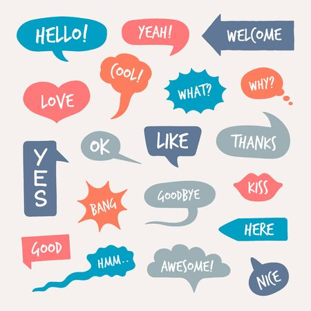 Online chat comments set. Cartoon dialogue and speech bubbles with word inside. Can be used for communication, talk on internet, conversation, discussion concept