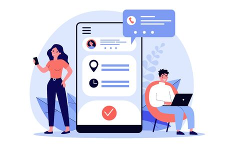 People using appointment business application. Man and woman planning meeting with online app. Vector illustration for internet technology, mobile calendar concept
