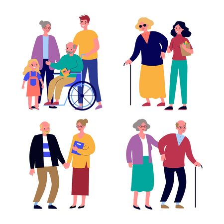 Senior and disabled people support set. Men and women helping handicapped relatives flat vector illustrations. Disability, assistance, family concept for banner, website design or landing web page