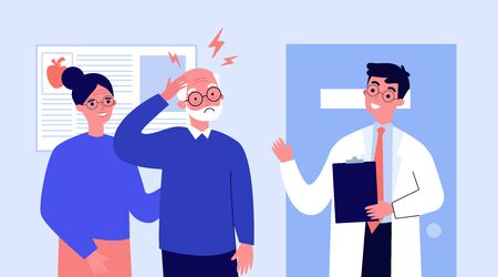 Senior man going to doctor because of migraine. Physician consulting patient in pain flat vector illustration. Depression and headache concept for banner, website design or landing web page