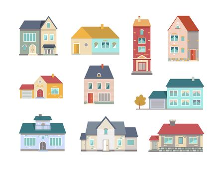 Village houses flat icon collection. Front view of small town buildings and apartments vector illustration set. Exterior and constructions facade concept