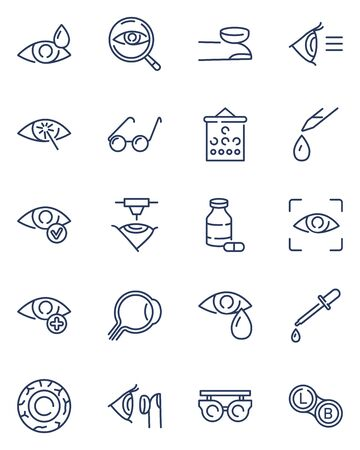 Ophthalmology line icon set. Glasses, eyedropper, oculist tools, laser surgery, lenses. Vector icon collection for optometry, eyes health, eyesight, eye care, medical examination topics