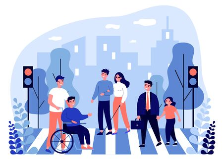 Disabled people crossing street. Blind woman, wheelchair, child flat vector illustration. Urban traffic, safety, rules concept for banner, website design or landing web page