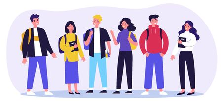 Cheerful college students with books and backpacks standing together. Teen girls and guys meeting and talking. Vector illustration for communication, studying, school friends, youth, teenagers concept