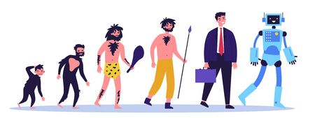 Human evolution theory flat vector illustration Ilustración de vector