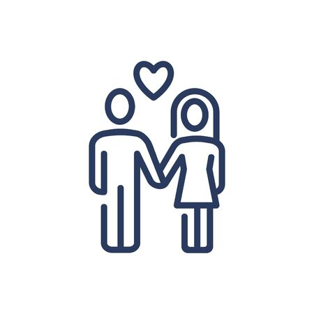 Man and woman in love thin line icon
