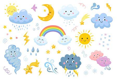 Weather emoticon flat icon set Ilustración de vector
