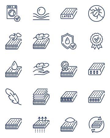 Mattress thin outline icon set Vektorgrafik