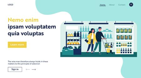 People buying food at supermarket flat vector illustration