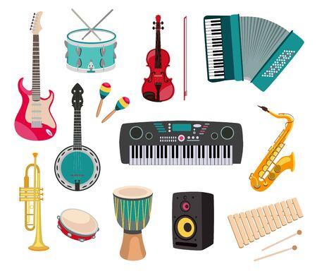 Different musical instruments set Vetores